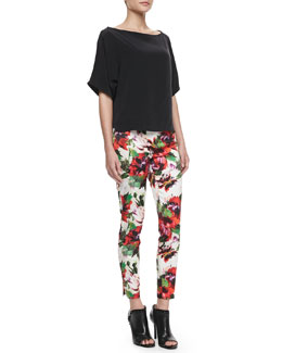 Milly Silk Dolman-Sleeve Top & Floral-Print Slim Pants