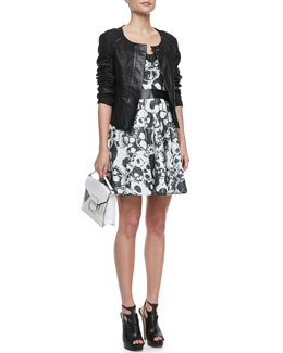 Milly Python-Embossed Leather Jacket & Laughing Skull Leather-Inset Dress