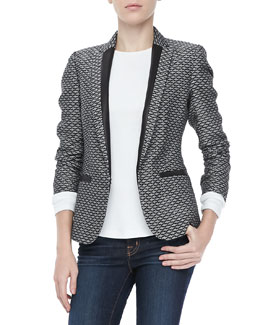 Rag & Bone Lorimer Jacquard Tuxedo Blazer and Dakota Seam-Back Tee