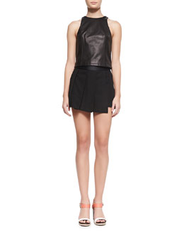 Rag & Bone Stargazer Seamed Leather Top and Asymmetric Knife-Pleat Skort