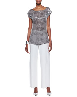 Eileen Fisher Clear Sequined Short-Sleeve Top & Modern Wide-Leg Pants, Petite