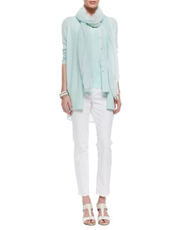 Eileen Fisher Cashmere Cardigan, Sleeveless Silk Top, Organic-Cotton Long Slim Tank & Organic Skinny Ankle Jeans
