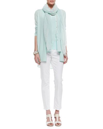 Eileen Fisher Cashmere Cardigan, Sleeveless Silk Top, Organic-Cotton Long Slim Tank & Organic Skinny Ankle Jeans, Women's