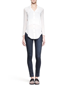 Helmut Lang Lawn Sheer-Panel Shirt and Wren Pull-On Legging Jeans
