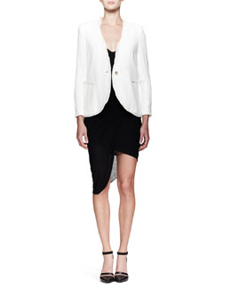 Helmut Lang Relic Twist-Trim Blazer and Slack Twist Jersey Dress