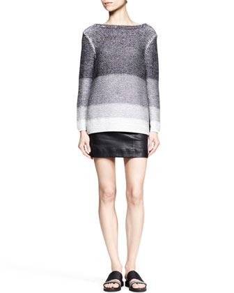 Plaited Degrade Knit Sweater and Plonge Leather Pencil Skirt