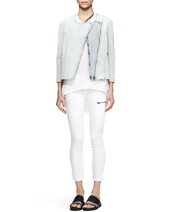 Faded Denim Moto Jacket, Kinetic High-Low Tank & Cropped Zip-Pocket Moto ...
