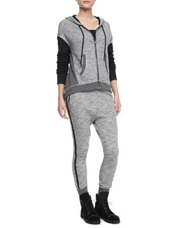rag & bone/JEAN Georgia Solid-Sleeve Hoodie & Murphy Dropped-Front Sweatpants