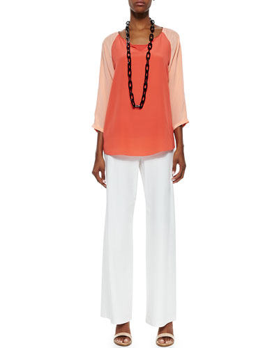 Eileen Fisher 3/4-Sleeve Silk Colorblock Top, Organic Cotton Slim Tank & Modern Crepe Wide-Leg Pants, Petite