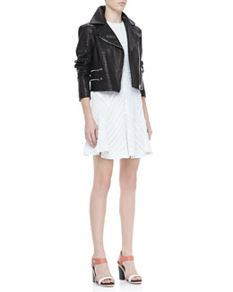 Rag & Bone Vespa Croc-Embossed Moto Jacket and Basha Sleeveless Dress
