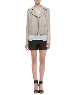 Vince Smooth Leather Motorcycle Jacket, Long-Sleeve Popover Blouse & Lamb Leather Shorts