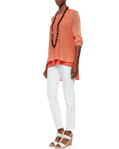 Eileen Fisher Linen Knit Mini Tape Box Top, Sleeveless Silk Top & Organic Denim Skinny Ankle Jeans, Petite
