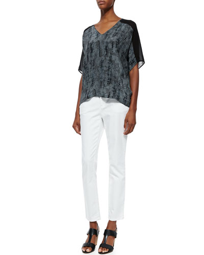 Eileen Fisher Lace-Print V-Neck Silk Top & Organic Denim Skinny Ankle Jeans
