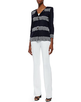 Misook Laverna Striped Crepe Jacket & Boot-Cut Knit Pants, Petite