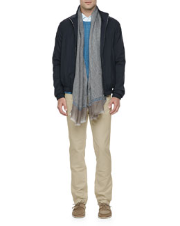Loro Piana Windmate Bomber Jacket, Open-Knit Pullover Sweater, Andre Soft-Honeycomb Textured Shirt, Comfort Dyed Lightweight-Cotton Pants & St. Germain Cashmere/Silk Scarf