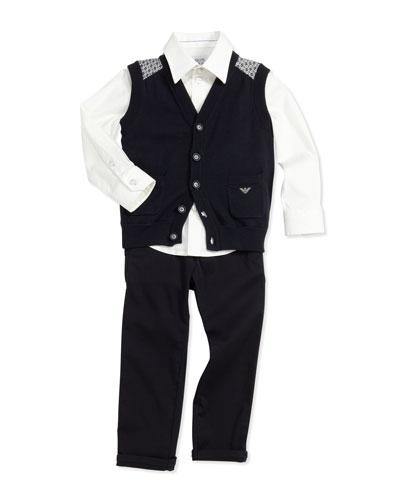 Knit Button-Down Vest, Stretch-Poplin Button-Down Shirt & Twill Dress Pants