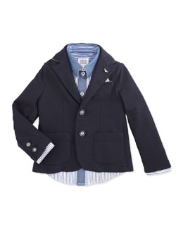 Armani Junior Soft Stretch-Jersey Blazer & Striped Button-Down Shirt