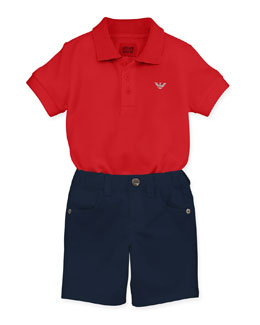 Armani Junior Boys' Basic Polo & Stretch-Gabardine Shorts