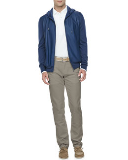Loro Piana Leather & Cashmere Lightweight Bomber Jacket, Huck-Lace-Cotton Long-Sleeve Polo & Comfort-Dyed 5-Pocket Pants