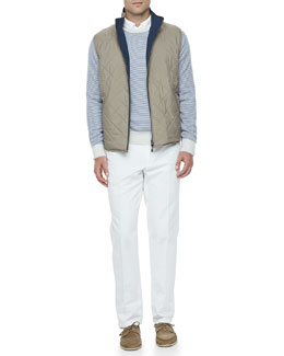 Loro Piana Marlin Quilted Reversible Vest, Westport Striped Cashmere Sweater & Four-Pocket Cotton/Linen Pants
