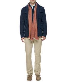 Loro Piana Mouline Cashmere/Silk Bomber Jacket, Brighton Baby-Cashmere Jacket, Comfort-Dyed Lightweight-Cotton Pants & Double Bicolor Scarf