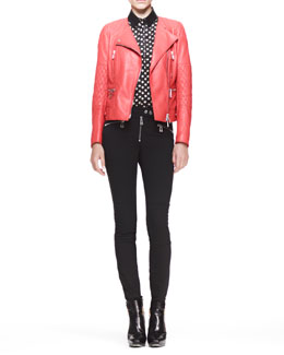 Belstaff Collarless Quilted Moto Jacket, Reade Polka-Dot Blouse & Barbican Skinny Moto Pants