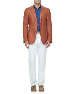 Loro Piana Sahara Melange Linen Blazer, Denim Long-Sleeve Shirt & Four-Pocket Cotton Linen Pants