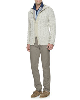 Loro Piana Linen-Blend Cable-Knit Jacket, Doublon Linen-Jersey Polo, Ile Ruosee Striped Scarf & Comfort-Dyed 5-Pocket Pants
