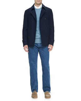 Loro Piana Cotton/Cashmere Pea Coat, Westport Cashmere Crewneck Sweater, Huck-Lace-Cotton Long-Sleeve Polo & New York 5-Pocket Denim Jeans