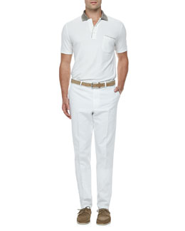 Loro Piana Regatta Contrast-Collar Polo & Twill Straight-Leg Bermuda Pants