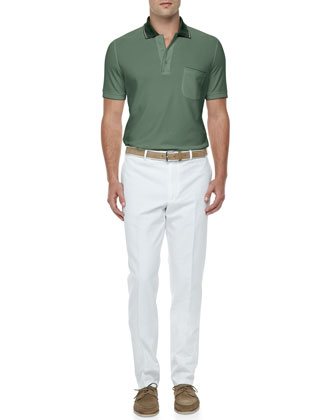 Regatta Contrast-Collar Polo & Twill Straight-Leg Bermuda Pants