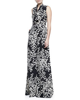 Carolina Herrera Daisy-Print Sleeveless Ascot Blouse & Wide-Leg Pants
