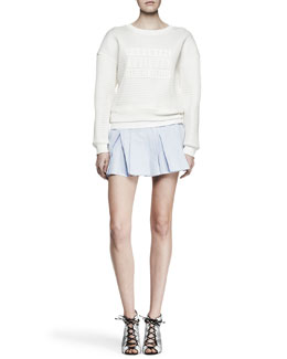 Alexander Wang Parental Advisory Knit Sweatshirt and Irregular Pleat Short Skirt