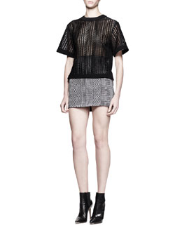 Alexander Wang Boxy Cutout-Logo T-Shirt and High-Waist Menswear Mini Skirt