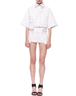 Alexander Wang Cropped Trench Jacket and High-Waist Side-Panel Shorts