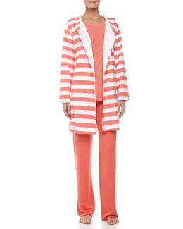 Splendid Intimates Rugby Stripe Terry Robe, Ribbed Baseball Tee & Fold-Over Pants, Coral