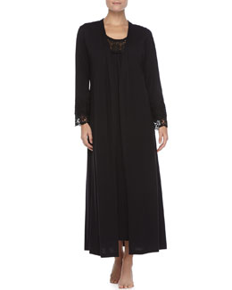 Oscar de la Renta Heirloom Long Robe & Long Tank Gown, Black