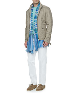 Loro Piana Hopkins Wind Bristol Bomber Jacket, Westport Cashmere Sweater, Four-Pocket Cotton/Linen Pants & Plaid Cashmere/Silk Scarf