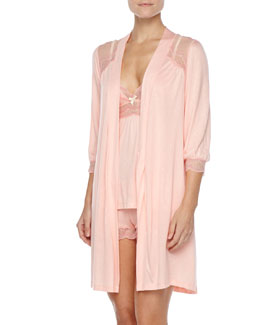 Eberjey Millie Lace-Trim Robe, Camisole & Shorts, Melon Rose