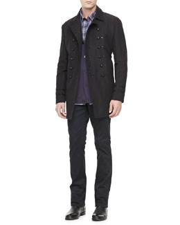 John Varvatos Star USA Luxe Cotton-Linen Pea Coat, Shawl-Collar Sweater, Plaid Long-Sleeve Sport Shirt & Luxe 5-Pocket Pants