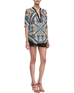 12th Street by Cynthia Vincent Printed Split-Neck Blouse & Pleated-Front Leather Shorts