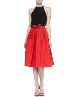 Tibi Silk Halter Top  & Silk Pleated Self-Tie Skirt