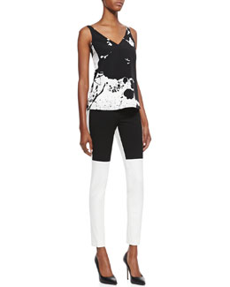 Tibi Printed V-Neck Top & Anson Colorblock Stretch Pants