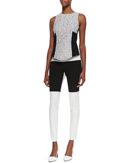 Tibi Sleeveless Tweed Colorblock Top & Anson Colorblock Stretch Pants