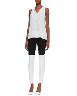 Tibi Splatter Dot Sleeveless Top & Anson Colorblock Stretch Pants