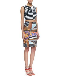 Clover Canyon Lautner Land Printed Crop Top & Lautner Land Print Neoprene Skirt