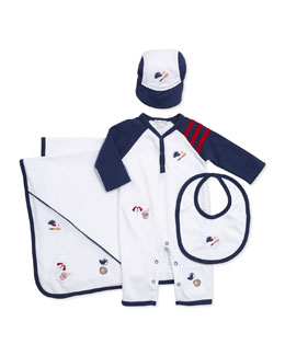 Kissy Kissy Grand Slam Raglan Playsuit, Bib, Baseball Hat, & Blanket
