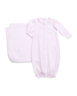 Kissy Kissy Girls' Gingham Sheep Convertible Gown & Baby Blanket