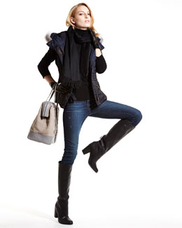 J Brand Jeans Navy Apres-Ski Vest with Fur-trimmed Hood, Cashmere Long-Sleeve Turtleneck, Mid-Rise Rail Jeans & Accessories