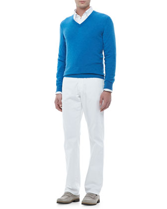V-Neck Pullover Sweater, Linen Sport Shirt & Five-Pocket Denim Jeans